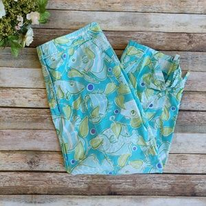 Lilly Pulitzer Blue Fish Capri Pants With Ties